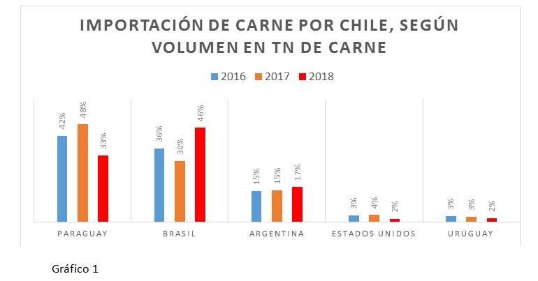Gráfico 1: importación de carne por Chile.
