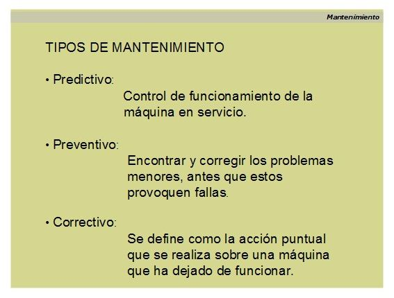 Tipos de mantenimiento preventivo. Tipos.
