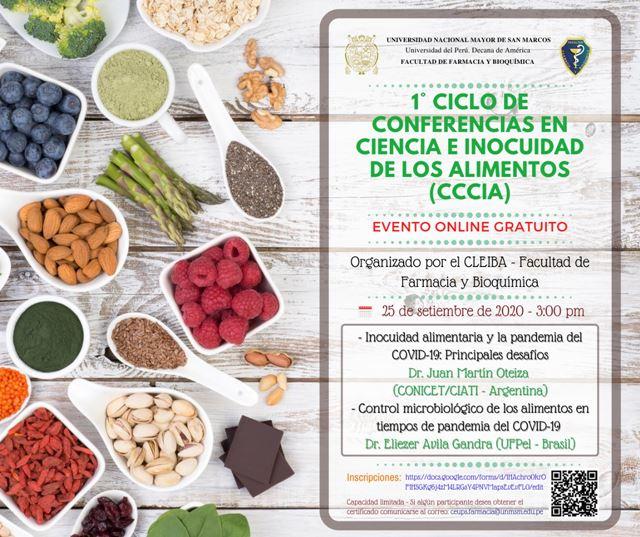 Evento online gratuito sobre ciencia e inocuidad alimentaria. Ponentes internacionales.